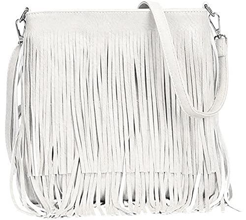 Boom Prime - Borse a tracolla da donna, in finta pelle scamosciata, con frange, a tracolla, stile Hobo, Bianco (bianco), Medium