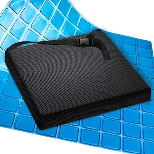 AIESI Cuscino Antidecubito Professionale (Certificato) Memory in poliuretano espanso con cuscinetto interno in gel viscoelastico e cinghia di fissaggio cm 44x44x5h