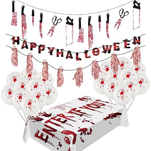 FancyWhoop Halloween Deko Blutiges Horror – Gruselige Tischdecke/Hintergr& Waffen Gebrochene Hände Füße Banner Blut Handabdruck Luftballons für Gruselige Happy Halloween Party