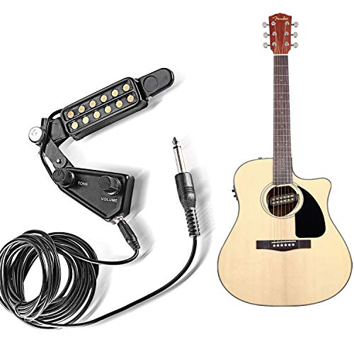 StyleZ 12 Soundhole Pickup with Amp Cable Clip On Tone Volume Control for Acoustic/Electric Guitar Transducer Microphone Wire Amplifier Speaker