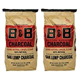B&B Charcoal Signature Low Smoke Long Burning Oak Lump Charcoal with All Natural Material for Grills and Barbecues, 20 Pounds (2 Pack)