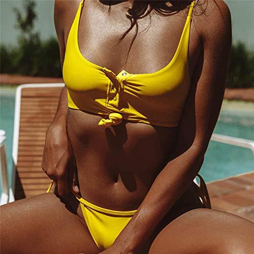 Bikini Sexy Bikini Amarillo Push Up Nudo Traje De Baño Talla Plus Bondage Traje De Baño Brasileño Bikini Femenino String Micro Traje De Dos Piezas