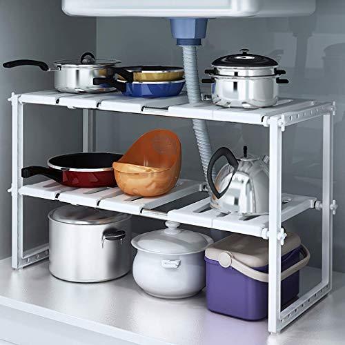 2 Tier uitbreidbaar onder de wastafel Organizer Rack, Home multifunctionele opslag rack voor keuken badkamer kast Racks, 3 kleuren (Maat: A)