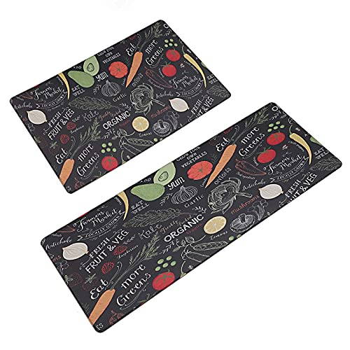 Kitchen Mat Rug 2 PCS Set Cushioned Anti-Fatigue,Waterproof Non-Slip Mats PVC Ergonomic Comfort for Kitchen,Floor Home,Office,Sink,Laundry,Vegetable, 17.7x29.5+17.7x47.2 in