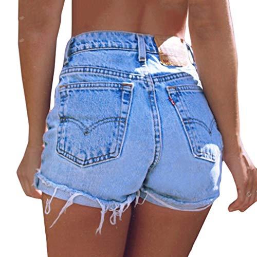 Pantalones Cortos de Jeans para Mujer Cintura Alta Slim Fit Pantalón Corto Elástico Skinny Pantalones Cortos de Mezclilla Moda Fringe Color Sólido Vaqueros Bolsillos Shorts