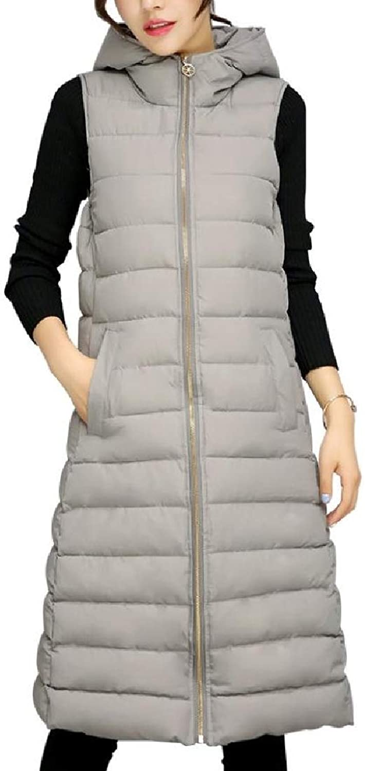 Abetteric Women's Hooded Packable Quilted Solid Cotton Padded Vest
