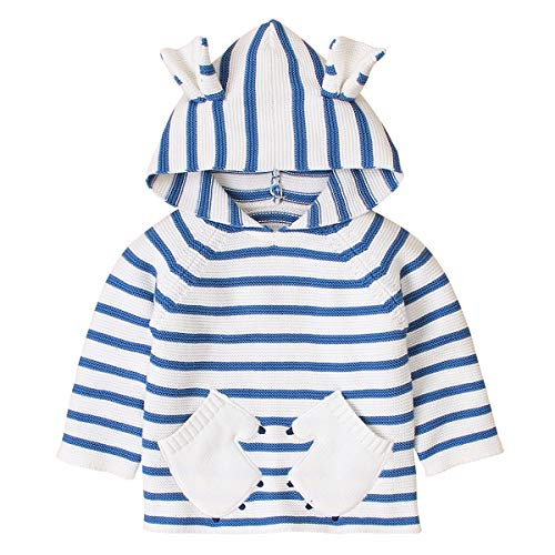 Borlai Unisex Kids Hooded Sweater Fashion Striped Knit Cute Ear Pullover Top Tracksuit