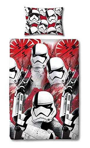 Star Wars Funda de edredón con Funda de Almohada a Juego, Reversible, diseño de Tropas de tormenta Episodio 8, Microfibra, Rojo, Individual