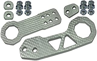 ICBEAMER Racing Style Universal Anodized CNC Aluminum Tow Hook Kit Including Front Rear Tow Hook [Color: Silver]