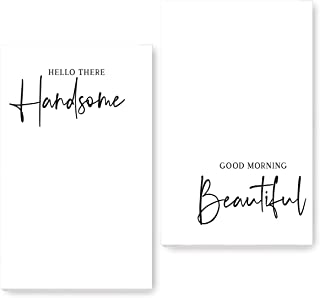 P. Graham Dunn Hello Handsome Good Morning Beautiful White 17 x 11 Wood Signs Set of 2