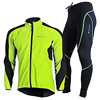 NUCKILY Men s Cycling Jersey Suit Winter Thermal Fleece Lining Breathable Waterproof Comfortable Long Sleeve Jacket with Padded Cushion Pants Trousers