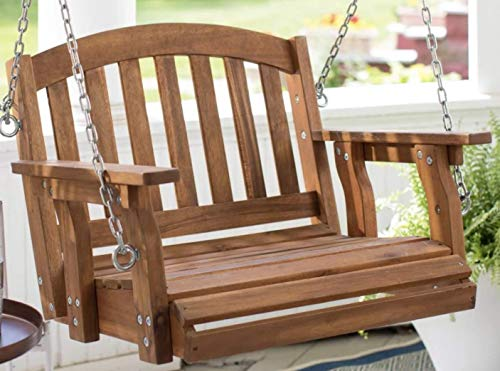 Outdoor Wood Single Person Porch Swing Patio Garden Furniture