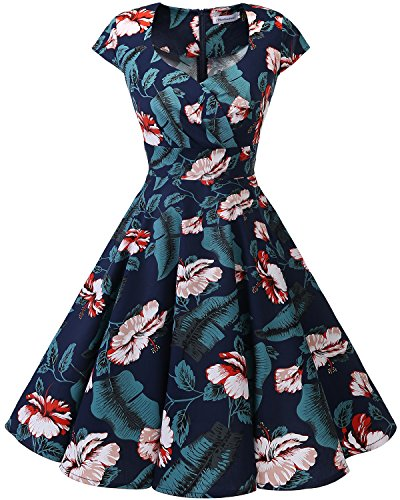 bbonlinedress 1950er Vintage Retro Cocktailkleid Rockabilly V-Ausschnitt Faltenrock Navy White Flower 2XL