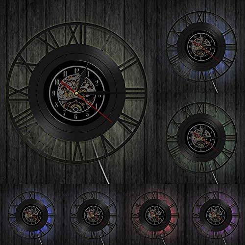 Reloj de pared con números romanos y números sencillos, estilo vintage, vinilo discográfico, diseño moderno, decoración del hogar, reloj de pared decorativo con luces LED