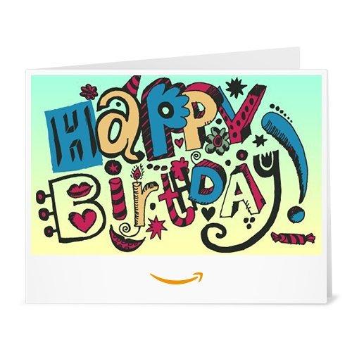 Amazon.de Gutschein zum Drucken (Happy Birthday Doodle)