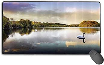 Gamer Mouse Pad Office Mouse Pad, Swans Resting on a Lake Covered by Forest in The Scottish Highlands Photography, Premium-Textured (31.5