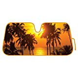 Golden Sunset Beach - Palm Tree - Front Windshield Sun Shade - Accordion Folding Auto Sunshade for Car Truck SUV - Blocks UV Rays Sun Visor Protector - Keeps Your Vehicle Cool - 58 x 28 Inch
