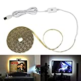 Mdsgfc 5 V impermeable bande llevó la cinta de luces USB Powered LED tira luz TV retroiluminación con táctil regulable interruptor frío blanco 3 m