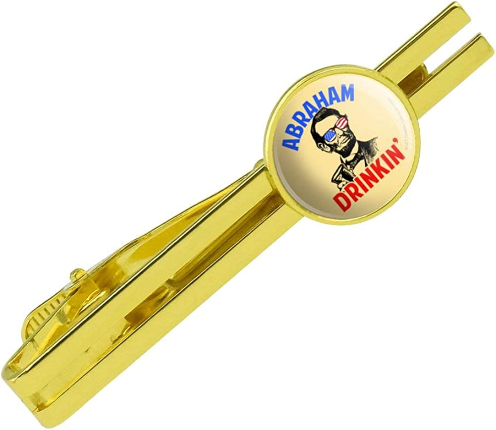 GRAPHICS & MORE Abraham Drinkin' Lincoln Drinking Funny Humor Round Tie Bar Clip Clasp Tack Gold Color Plated