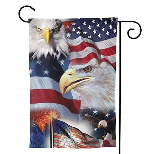 """UTWJLTL Garden Flag American Symbols Eagle Flag Decorative Flag Double Sided 12.5"""" X 18"""" Weather Resistant Outdoor Welcome Flag for Yard Patio Garden Outdoor Decor"""