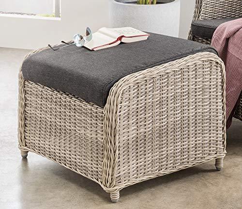 Destiny Lounge Hocker Casa Vintage Weiß Luna Palma Fußhocker Polyrattan Beinauflage