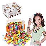 EXTSUD Lot de 700 Perles Enfants Bricolage Plastique Coloré kit de Loisirs Créatifs pour Faire des Colliers Bracelets bagues Bijoux Cadeau pour Filles Enfants