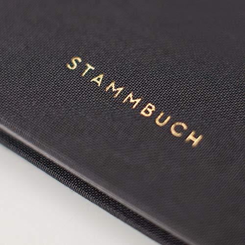 JO & JUDY Familienstammbuch | Hochzeit | Dunkelgrau mit Goldfolienprägung - 16,6 x 22 cm - 10 Inhaltsseiten - Froschtasche - 6-fach Ringmechanik - 6