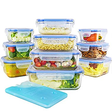 Glass Food Storage Containers Set with Airtight Locking Lids & Free Ice Pack, Zestkit Portion Control Glass Meal Prep Lunch Containers , BPA Free Oven Freezer Dishwasher Microwave Safe (20 Pieces)