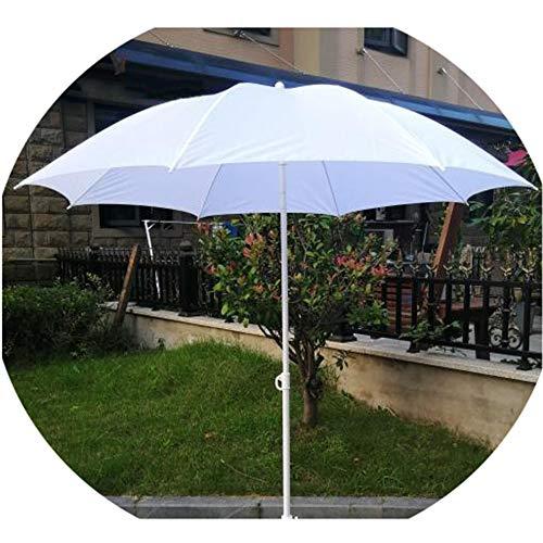 KUWD Sombrilla De 1.6m, Sombrillas De Playa Blancas, Sombrilla De Café, Sombrilla Exterior con Mecanismo De Inclinación, Sombrilla De Jardín