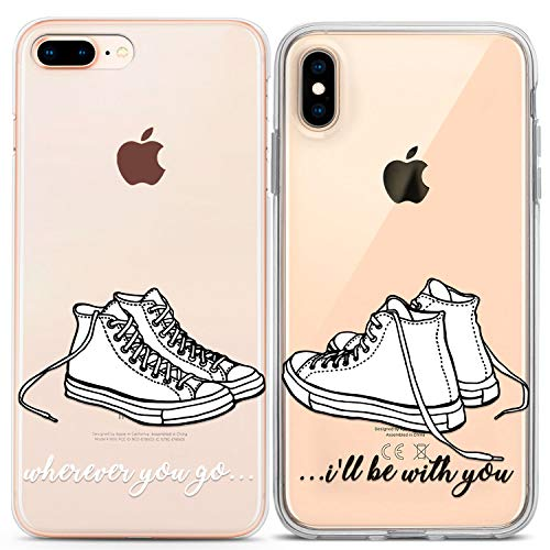 Lex Altern Couple Cases Compatible with iPhone 12 Pro Max 11 Mini SE Xr Xs 8 Plus 7 6 BFFs Lightweight Clear Flexible Wherever You Go I Will Be with You Sneakers Anniversary Best Friend Cute TPU