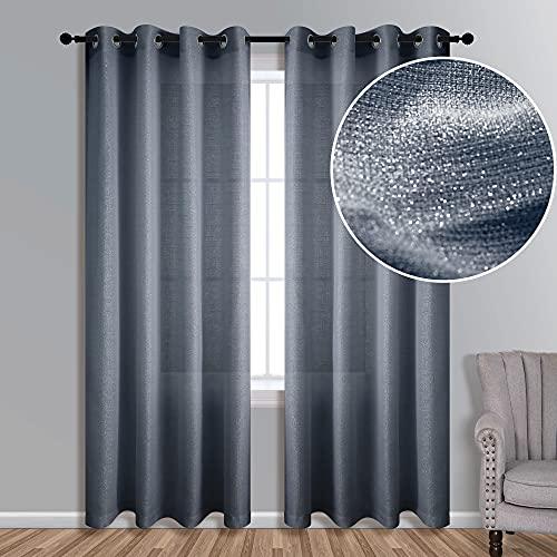 Dark Blue Living Room Curtain 84 Inch Length 1 Panel Grommet Window Semi Sheer Light Filtering Silver Shiny Sparkle Shimmer Metallic Glitter Curtain for Bedroom Decor Sapphire Dusty Navy Gray Grey