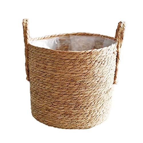 AUPSU Diámetro de 25 cm, cesta de macetas, recipientes naturales para plantas, cubierta tejida a mano con forro de plástico a prueba de fugas para interiores y exteriores, jardín, balcón,