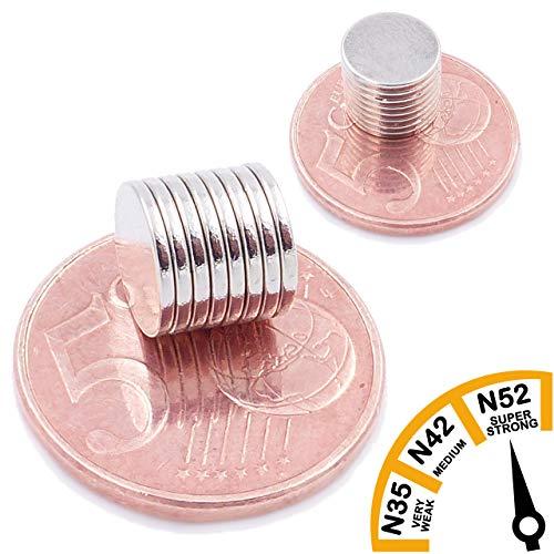 Brudazon | 50 mini schijfmagneten 9 x 1 mm | N52 dikke stand - neodymium magneten ultrasterk | Power magneet voor modelbouw, foto, whiteboard, notitiebord, koelkast, knutselen | magnetische schijf extra sterk