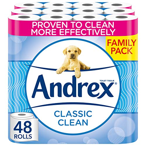 Andrex Toilet Roll - Classic Clean Toilet Paper, 48 Toilet Rolls