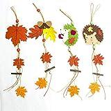 Topcosplay Hänger Blätter 4er Set Ahornblatt Herbstblätter Fenster Deko Christbaumschmuck Eichhörnchen Hänger (Herbstblätter)