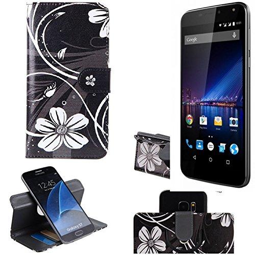 K-S-Trade Schutzhülle Für Phicomm Energy 3+ Hülle 360° Wallet Hülle Schutz Hülle ''Flowers'' Smartphone Flip Cover Flipstyle Tasche Handyhülle Schwarz-weiß 1x