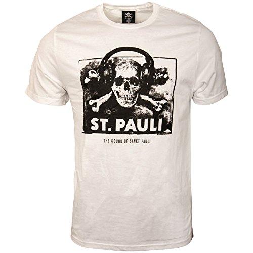 FC St. Pauli–Camiseta para hombre Fan Artículo The Sound Of Sankt Pauli Música Calavera Auriculares color blanco negro, Hombre, Blanco, medium