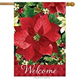 """Briarwood Lane Poinsettia Welcome Christmas House Flag Floral Holiday 28"""" x 40"""""""