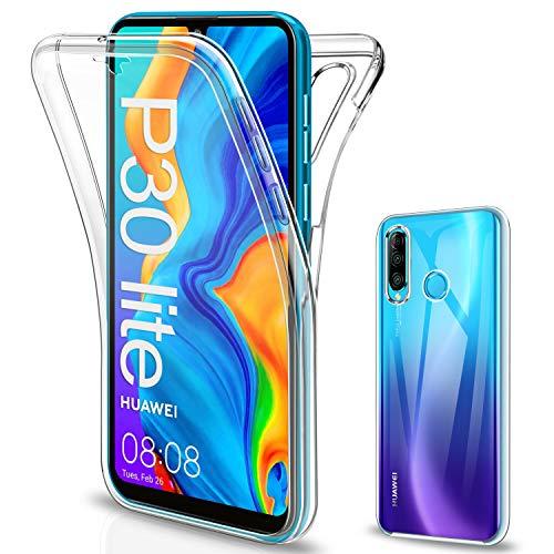 SOGUDE für Huawei P30 Lite Hülle, für Huawei P30 Lite Schutzhülle 360 Grad Full Body Front Und Rückenschutz Handyhülle Transparent Silikon Schutzhülle TPU Bumper für Huawei P30 Lite