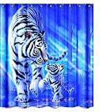 Wildlife Tiger Mom and Son Cloth Fabric Shower Curtain Sets Bathroom Decor with Hooks Waterproof Washable 71 x 71 inches Blue White Black