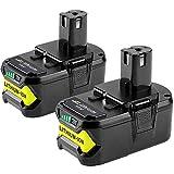 2 X 5500mAh Dosctt Batterie Remplacement pour Ryobi RB18L50 18V 5,5Ah Li-Ion ONE+...