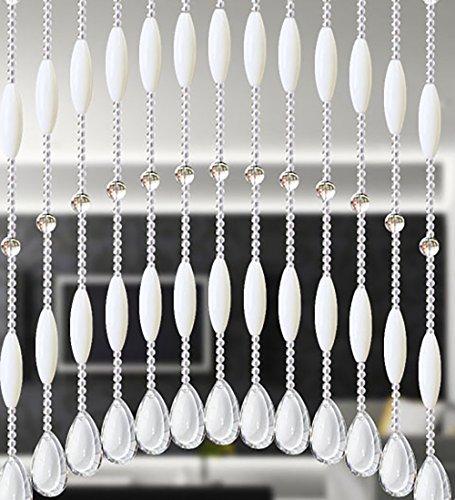 WUFENG Rideau Entrée en Verre de Salon d'entrée en Verre de Rideau en Cristal Personnalisable accrochant 5 Couleurs, 0.3~0.6m (Couleur : Blanc Laiteux)