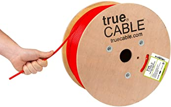 Cat6A Plenum (CMP), 1000ft, Red, 23AWG 4 Pair Solid Bare Copper, 750MHz, ETL Listed, Unshielded Twisted Pair (UTP), Bulk Ethernet Cable, trueCABLE