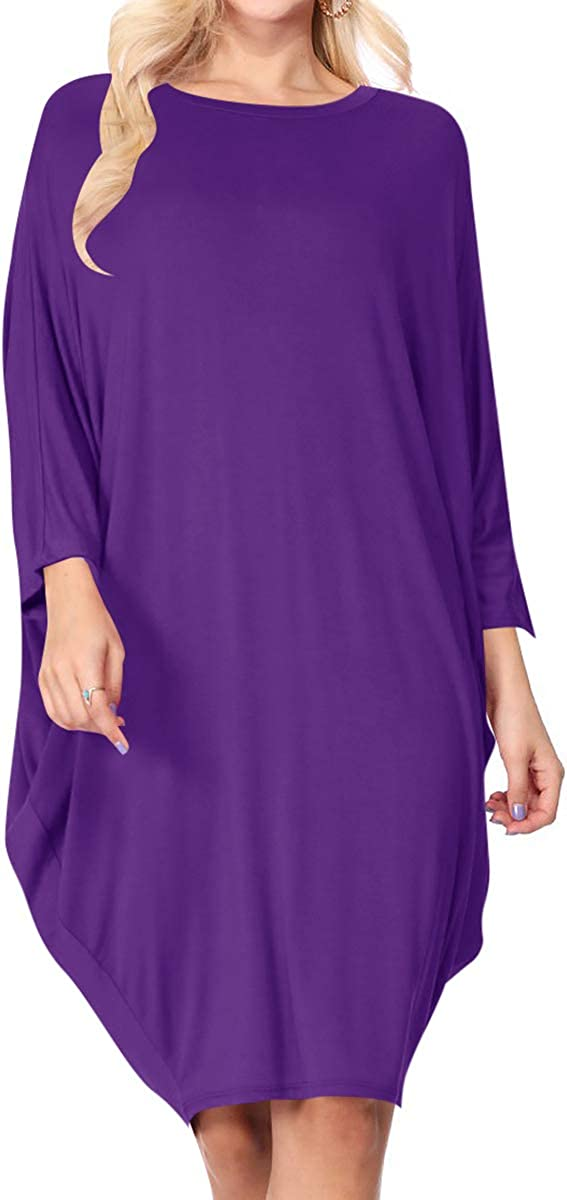 Women's Casual Loose Fit Long Sleeves Dolman Style Solid Midi Dress Made in USA