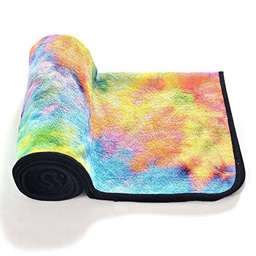 N\C Alfombra de Yoga y Manta de Yoga Antideslizante con Estampado Tie-Dye, Toalla de Playa de Viaje de Microfibra Plegable Suave y de Secado rápido, tamaño: 183CMX61CM, Ideal para portátil