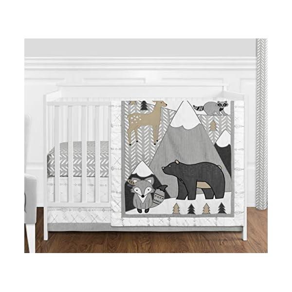 Sweet Jojo Designs Beige, Grey and White Boho Mountain Animal Gray Woodland Forest Friends Baby Unisex Boy or Girl Nursery Crib Bedding Set – 4 Pieces – Deer Fox Bear