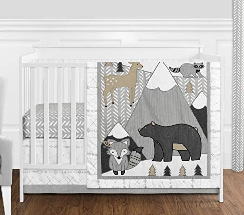 Sweet Jojo Designs Beige, Grey and White Boho Mountain Animal Gray Woodland Forest Friends Baby Unisex Boy or Girl Nursery Crib Bedding Set - 4 Pieces - Deer Fox Bear