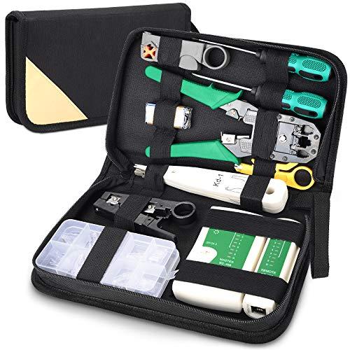 12 in 1 Netzwerk Reparaturwerkzeuge Set, Professionell Kabeltester Kit, Netzwerk Werkzeug Set, Auflegewerkzeug Set, Patchkabel Tester Computer Wartung LAN Kabel Tester