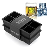 Samuelworld Ice Cube Tray Large Size Silicone Flexible 8 Cavity Ice Maker for Whiskey and Cocktails,...