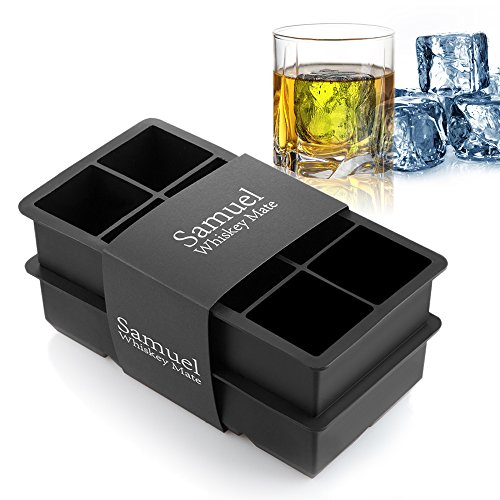 Samuelworld Ice Cube Tray Large Size Silicone Flexible 8 Cavity Ice Maker for Whiskey and Cocktails, Keep Drinks Chilled (2pc/Pack)